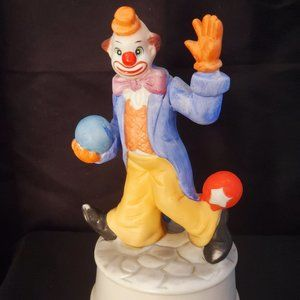 Vintage Clown w/Soccer Balls porcelain Music Box.
